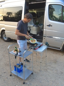 Chef Mark, at work with the Fold 'N Go stove.