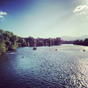 View from the Sundial Bridge. Sacramento River, Redding, CA