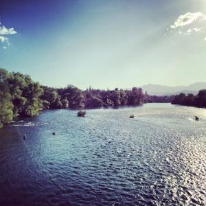 View from the Sundial Bridge. Sacramento River, Redding, CA