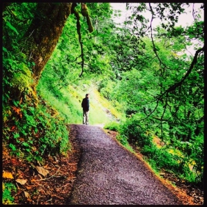 Mark, hiking back down @ Multnomah Falls, Oregon