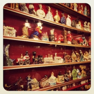 Just a small snippet of the glass bottle collection at the Mohawak Restaurant.