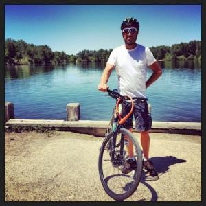 Man, bike, river