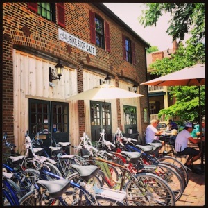 The Bike Stop Cafe. Obviously, a bike shop and cafe in St Charles