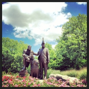 Lewis & Clark & their dog Seaman. St Charles
