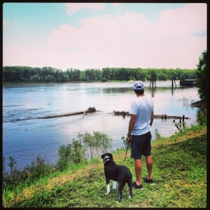 Mark and Dax. Checking out the river front. St Charles, MO
