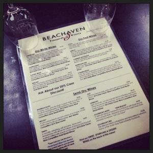 Wine tasting menu