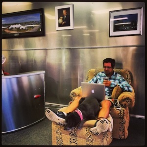 Mark and Trixie, lounging in the Airstream service center lounge.