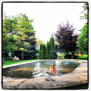 Canadians...not afraid to have fun. Wading pool in the park in Niagara-On-The-Lake