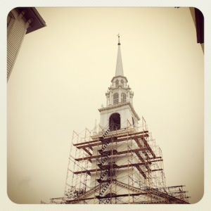 Church & scaffolding. Newburyport, MA