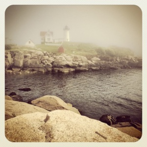 Nubble Light House, looking very moody in the fog!