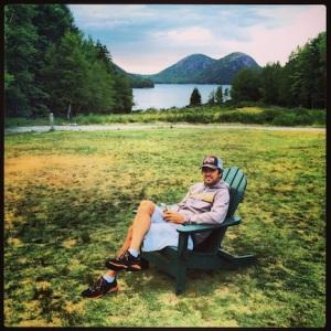 Relaxing at Jordan Pond