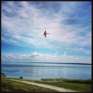 Crazy person ziplining @ Cape Enrage (not me, not Mark)