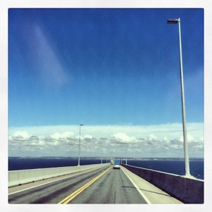 On the 8 mile long Confederation Bridge.