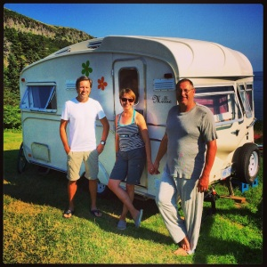 Mark, Debbie, Tony, and their very cool retro trailer, Millie.