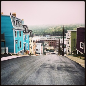 Colorful houses on hills. Downtown St. John's