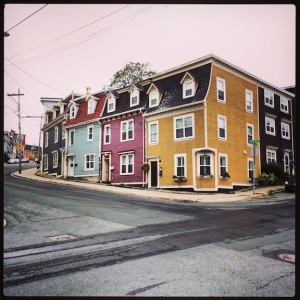 More colorful houses on hills. Downtown St. John's