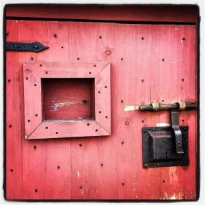 Red door detail @ the Fortress of Louisbourg