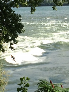 Surfing on the river!!