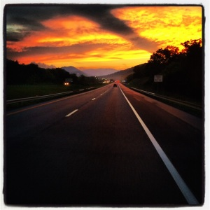 Beautiful sunset as we head south on Rt 81