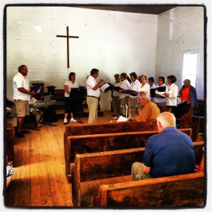 Singing group in the little church on Cades Cove Scenic Loop