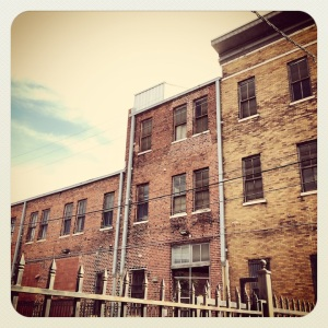 Lots of brick buildings in downtown Birmingham, Alabama