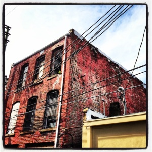 Brick and wires. Downtown Birmingham, Alabama