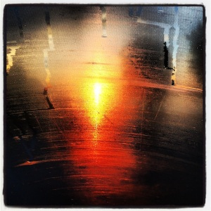 Sunrise, as seen through the condensation on the Space Shuttle windshield