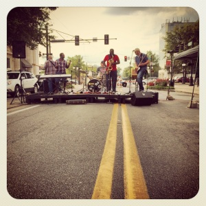 Post-ride, a great local band playing in the street near the finish line