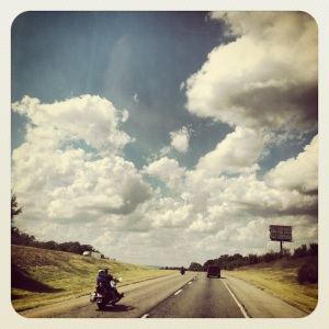 All the bikers leaving Arkansas, in search of beer..