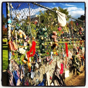Personal mementos on the fence @ Oklahoma City National Memorial