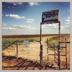 The infamous Cadillac Ranch. Let the spray painting begin!