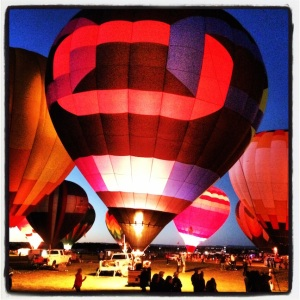 Evening Glow. The tethered balloons fired up at night.